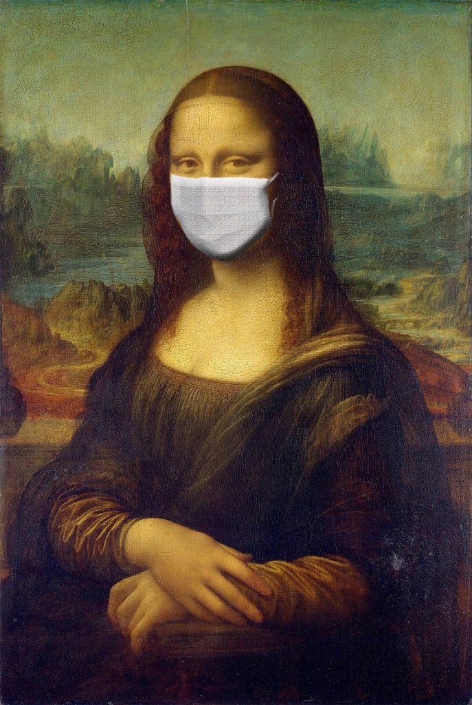 mona lisa avec un masque